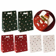 Behogar 6pcs Medium Christmas Foldover Candy Treat Goodie Box Bags with Handle f