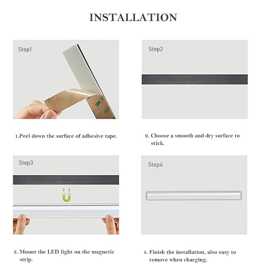LED Under Cabinet Light LED PIR Motion Sensor Lamp 6/10/20LEDS lighting for Wardrobe Cupboard Closet Kitchen night light 5