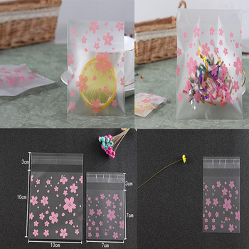 100pcs Gift Packing Bags Flower Self Adhesive Plastic Bags Cellophane Sweet Cookies Candy Cookies Package Party wedding decor image