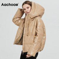 Aachoae Frauen Dicke Warme PU Faux Leder Gepolsterte Mantel 2021 Winter Zipper Mit Kapuze Jacke Parka Langarm Taschen Oberbekleidung Tops