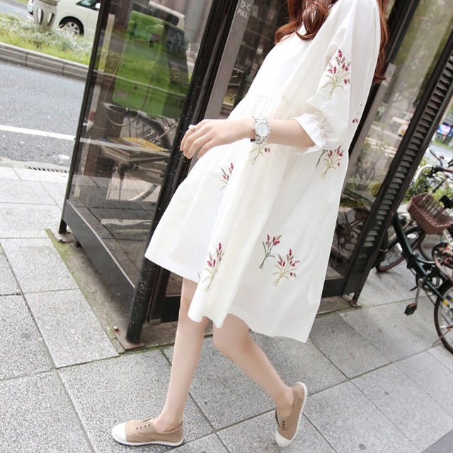 Loose Summer Maternity Dresses of Cotton 5