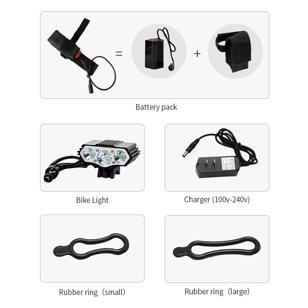 12000 Lumens Bicycle Front Light 3xT6 LED Outdoor MTB Road Bike Headlight Waterproof Safe Cycling Lamp With Battery Pack BC0533 (15)