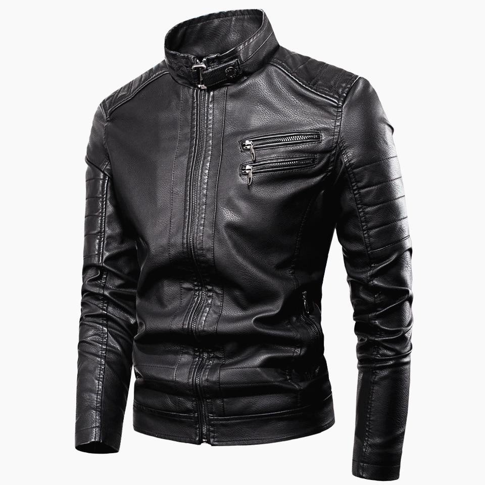 Men 2020 Spring New Casual Vintage Zipper Style Fleece Leather Jackets Coat Men Outwear Fashion Motor & Biker Leather Jacket Men