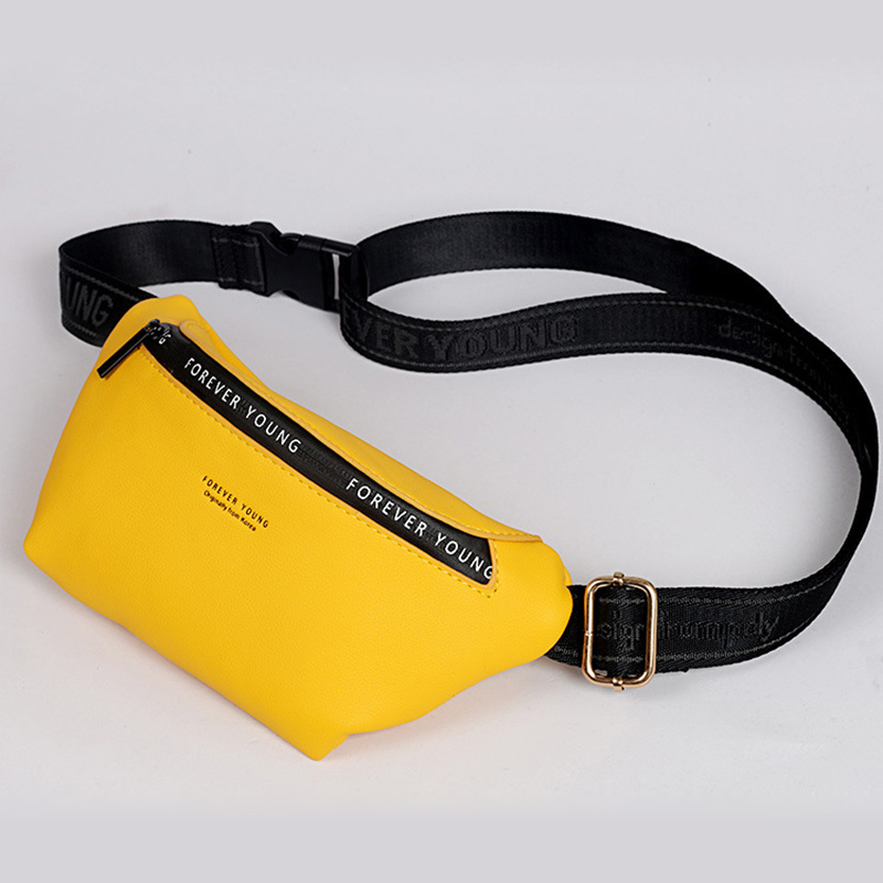 Luxury Brand Design Fanny Pack Women Waist Pack Fashion Ladies Waist Bag Leather Belt Bag Multi-function Chest Bag Pink Yellow