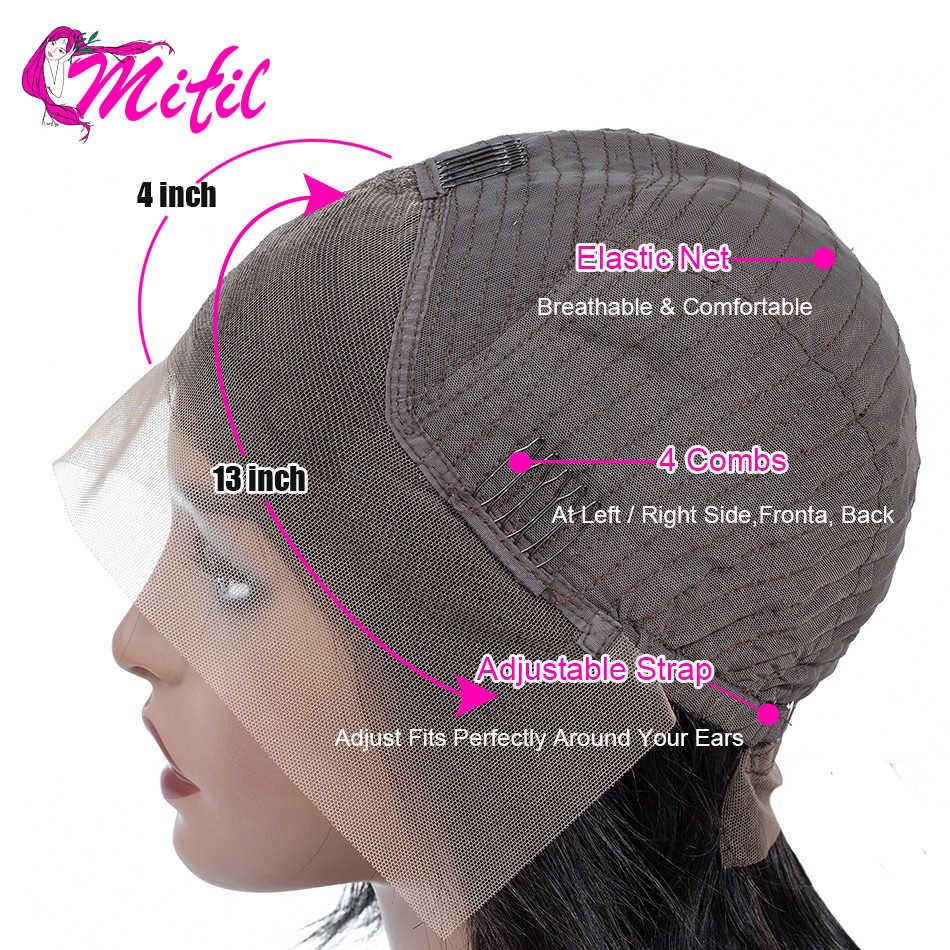 Mifil remy brasileiro em linha reta frontal suíço laço de cabelo humano frontal orelha a orelha 360 fechamento do laço frontal marrom preplucked
