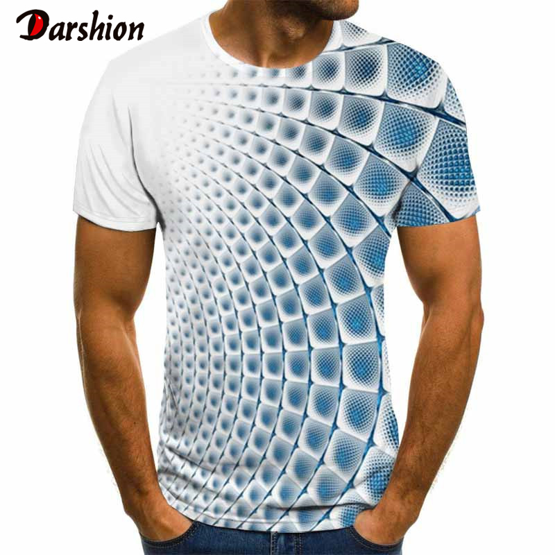 3D Three-dimensional Vortex Men Tshirt Summer Psychedelic Printed Tshirts Checked Tunnel Print T-Shirt Casual Summer Tops