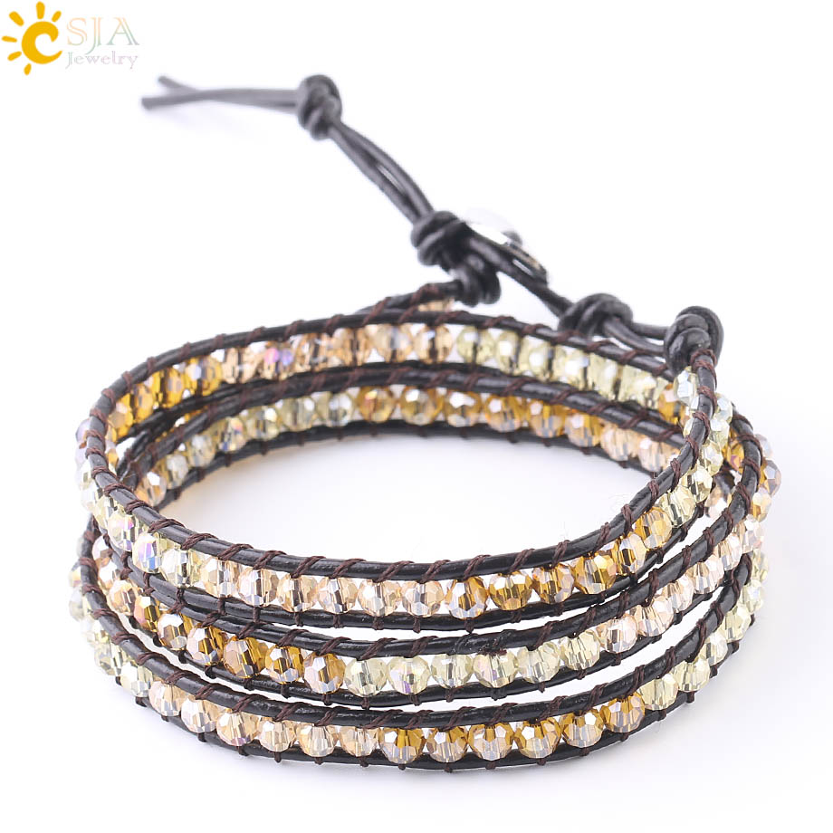 CSJA Multicolor Wrap Leather Bracelet Faceted Glass Beads Bicone Crystal Triple Bracelets for Women Men Charm Jewelry Gift S185