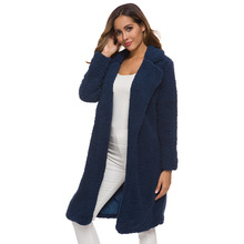 2019 Autumn Winter Fashion Loose Women Long Coat Lapel Thicker Outerwear Feminine Warm Hooded Jacket Casual