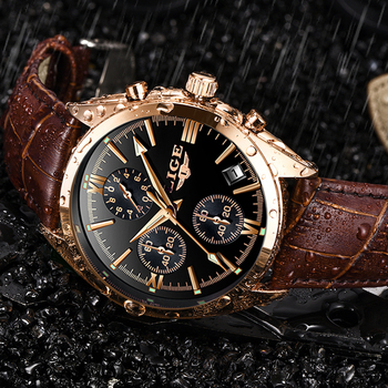 цена Relogio Masculino 2019 LIGE Watch Men Sport Quartz Fashion Leather Clock Mens Watches Top Brand Luxury Waterproof Business Watch онлайн в 2017 году
