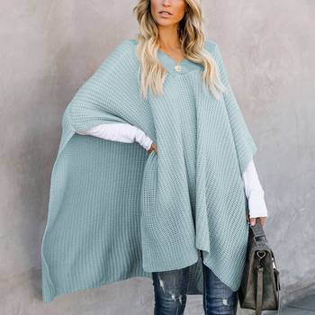 Laamei Knitted Cloak Sweater Women Casual Loose Shawl Autumn Winter Streetwear Poncho Women Sweater And Pullovers Plus Size plus size fringed zigzag poncho sweater