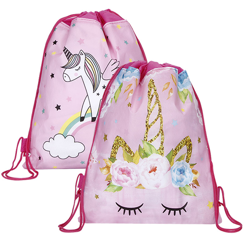 12pcs//lot Unicorn Drawstring Bag For Girls Travel Storage Package Cartoon School Backpacks Children Birthday Party Favors