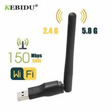 Kebidu 150 m usb 2.0 wifi placa de rede sem fio 802.11 b/g/n lan adaptador com chipset antena rotatable