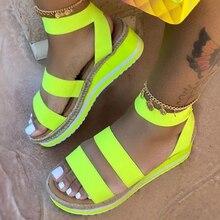 Women's summer shoes 2020 Slip on Strap Cross Cool Girls Wedges Platform Sandals Ladies Hemp Shoes Candy Color Plus Size Open PU raw trim criss cross pu sandals