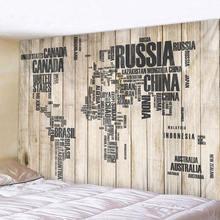 Деревянная доска карта листья Печатный Большой Настенный Гобелен