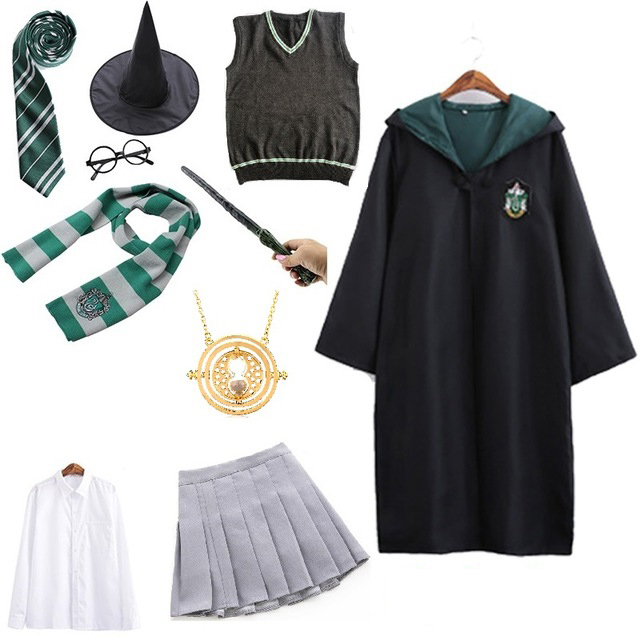 Cosplay Costume Unisex Kids Adult Magic School Uniform Robe Cloak Dress Women Girls Clothes Halloween Costumes for kids women