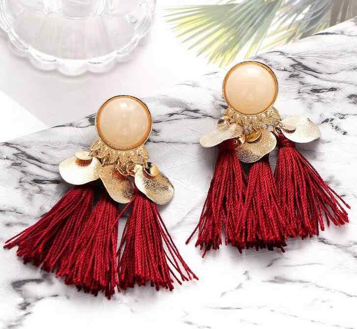 Europejskie i amerykańskie czeskie kolczyki przesadzone żywiczne kolczyki Tassel kolczyki biżuteria kobiety spadek kolczyki