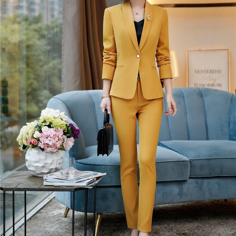 Novelty Yellow Slim Hips Formal Uniform Styles Women Business Work Wear Trendy Skinny Leggings Female Trousers   Pants     Capris
