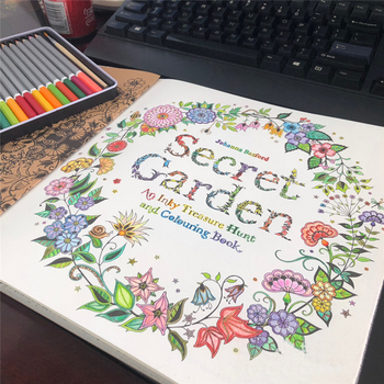 96 Pages English Secret Garden Decompression Coloring Books for Adults Kids Relieve Stress Kill Time Graffiti Drawing Wire Book - discount item  5% OFF Art Supplies