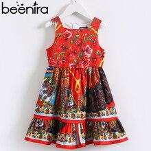 Beeniraガールズサマードレス 2020 ヨーロッパとアメリカンスタイルの子供ノースリーブ花柄因果ドレス 4 14y服ドレス
