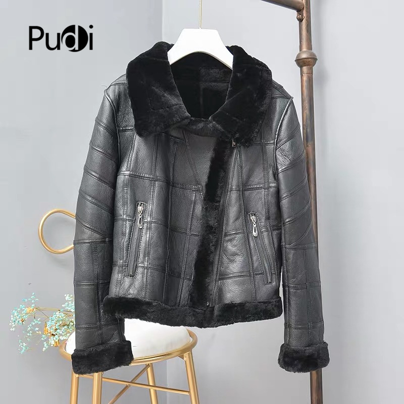 Pudi TX307704 Women Winter Basic Motorcycle Real Sheep Fur Coat Jacket Overcoat Lady Leisure Genuine Fur Coat Outwear