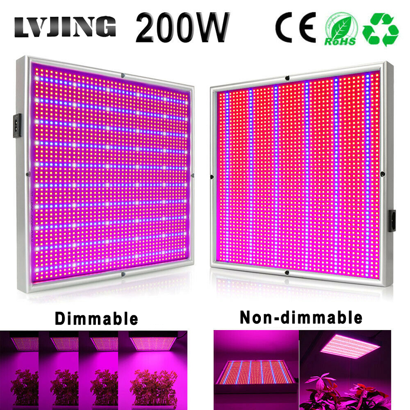 200W LED Grow Light Full Spectrum Dimmable 2000pcs Leds Panel Plant Growth Lamp For Indoor Hydroponique Greenhouse Vegs Grow Box