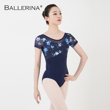 women Half sleeve Digital printing mesh ballet leotard Adult Ballet Practice gymnastics Leotard Ballerina 3562