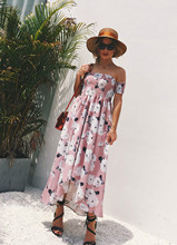 Europe and the United States explosion sexy One word collar Off-the-shoulder wrapped chest print slit chiffon beach long dress 2019 explosion models europe and the united states sling v neck long dress print chiffon backless beach high quality