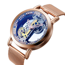 Skeleton Sapphire Crystal Women Mechanical Watch Luxury Brand Steel Wom