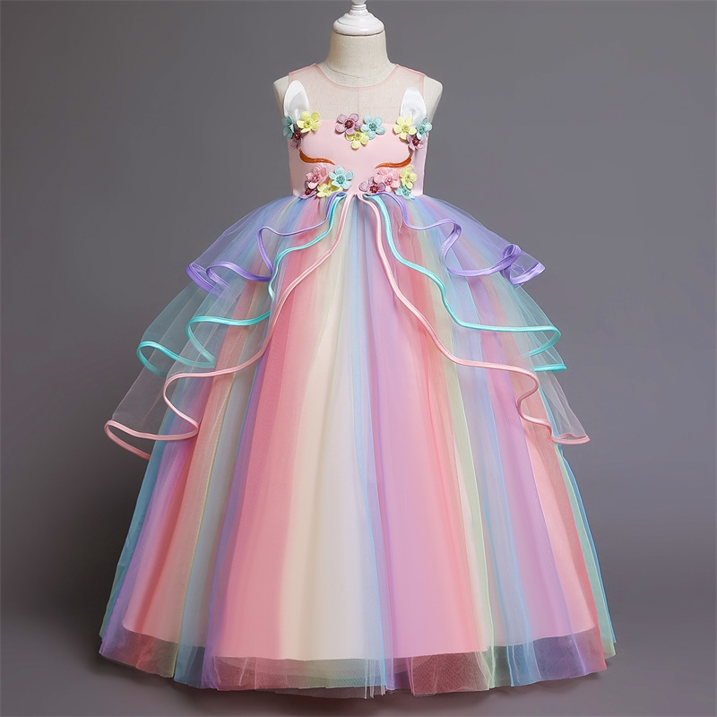 Appliques Flower Unicorn Girls Dress Rainbow Tulle Long Prom Gown Floral Beading Kids Clothes Halloween Carnival Girls Dress up 2