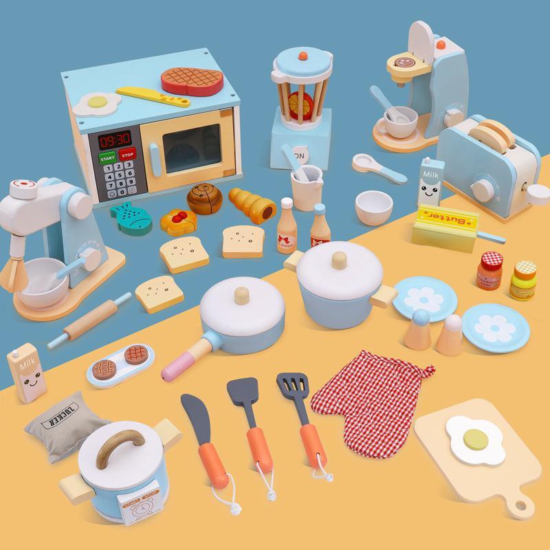 Novo bebê de madeira fingir jogar conjuntos simulação torradeiras fabricante de pão máquina de café liquidificador kit cozimento jogo mixer cozinha brinquedos papel