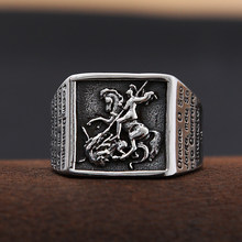 Vintage Stainless Steel Saint Michael Protective Ring Mens Punk Roman Paladin Badge Biker Ring Jewelry Free Shipping