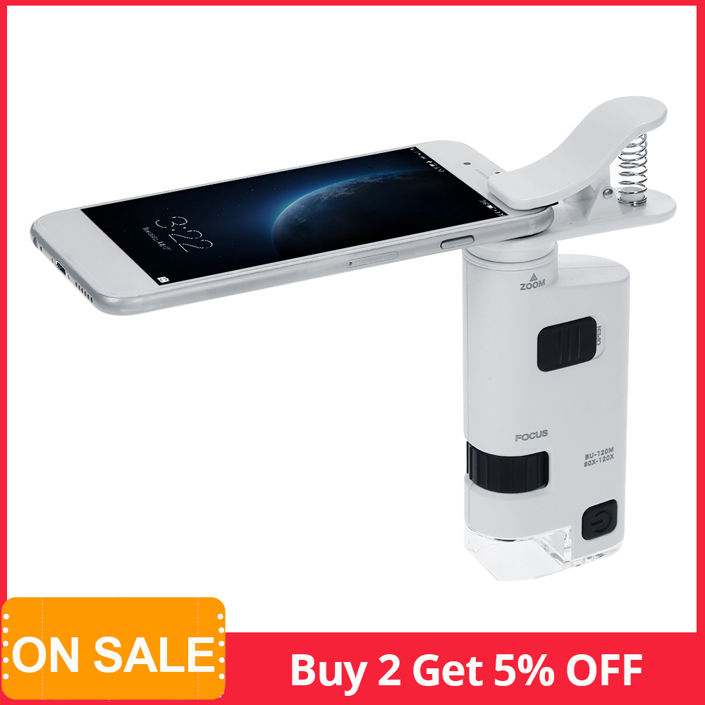 Digital Microscope USB Microscopio 80-120X LED Cell Phone Clip-type Cellphone Microscope Magnifier With LED Lamp Magnifiers