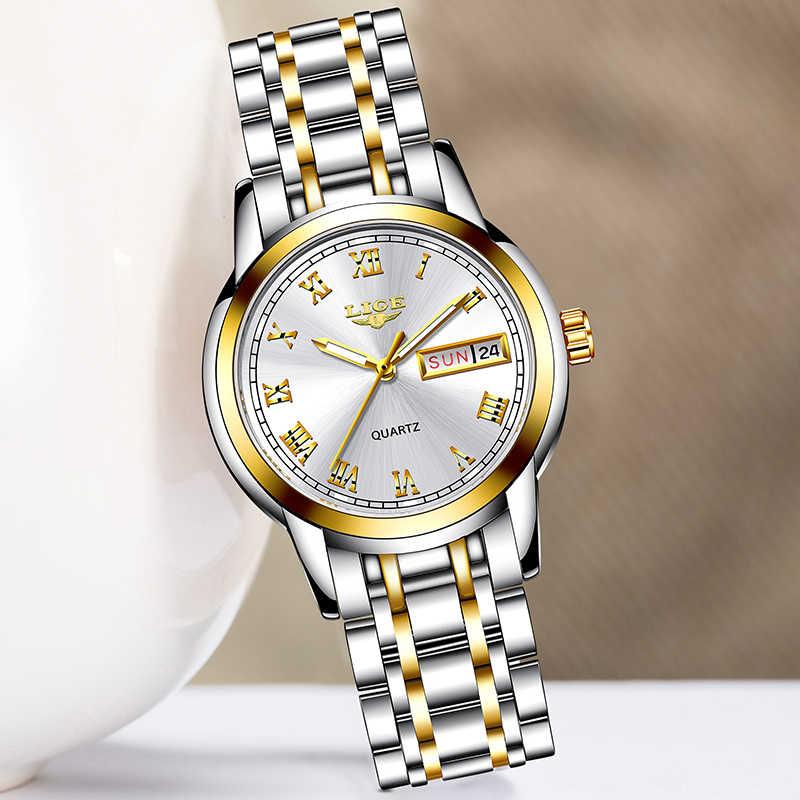 Женские часы LIGE, Кварцевые водонепроницаемые часы со стальным браслетом, новинка 2020