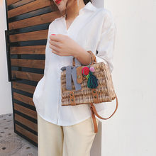 Women Beach Bag Bamboo Bracelet Straw Camera Model Bag Tassel Smile Basket Bucket Burlap Square Bag Messenger Bag Bolsa #T(China)
