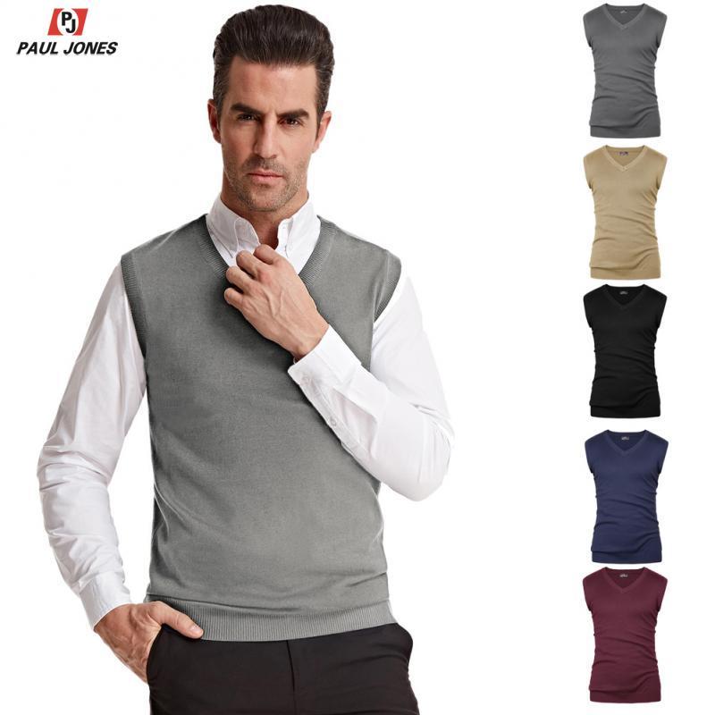 PAUL JONES Men's Classic V-Neck Knit Vest Sleeveless Pullover Solid Color Knitted Sweater Slim Fit Jumper Vest Knitwear PJAD1021