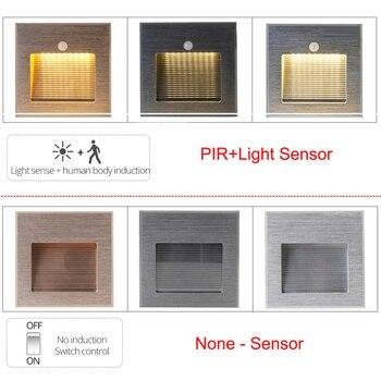 Retro Luz por movimiento pir de pared Sensor Luz de escalera led infrarrojo humano detección de movimiento lámpara de pared empotrada lámpara led de pie caja de montaje
