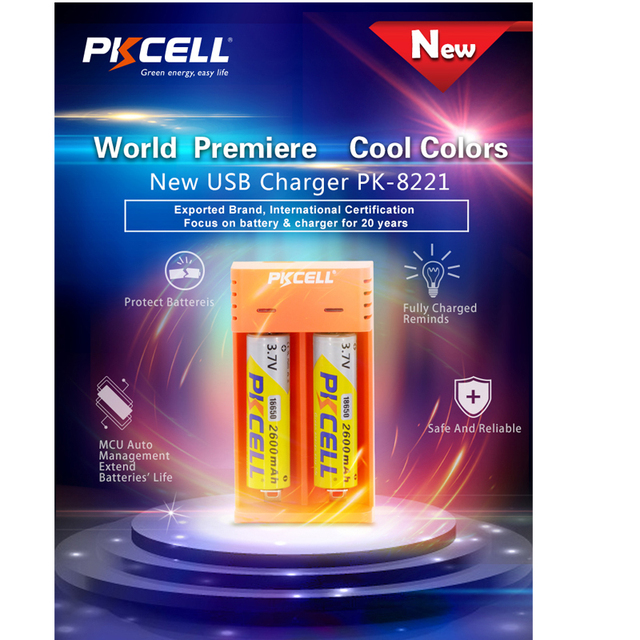 PKCELL 18650 charger charge for 3.7V AA/AAA 26650 16340 16650 14650 18350 18500 18650 li ion battery Charger USB 5V 2A 2slot