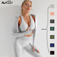 Gym Suits Wear Yoga-Sets Running-Clothes Seamless Long-Sleeve Women Fitness Female Sport