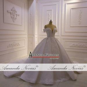 Image 5 - את כתף רצועות מלא תחרה ואגלי חתונת שמלת 2020 אמנדה novias