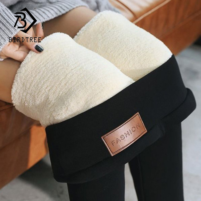 2019 Winter Black Warm Ladies Plus Velvet Leggings Fleece Thick Base Trousers  B9N203Q