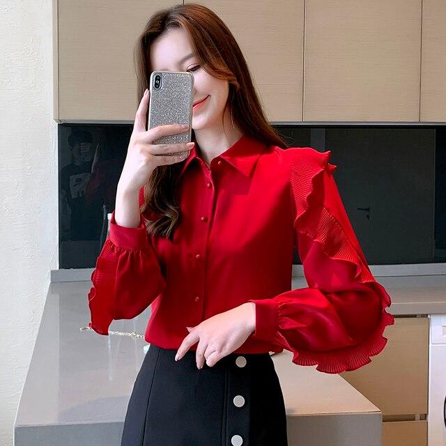 Korean Women Blouses Women Chiffon Blouse Shirts Woman Lantern Sleeve Shirt Woman Ruffles Blouse Office Lady Red Shirt Plus Size 2