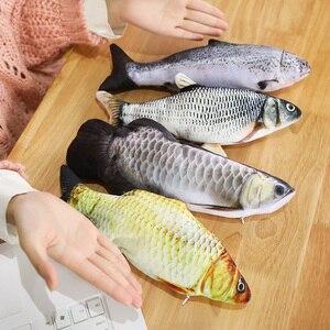 1 pcs 30cm Creative Electric Interactive Cat Stuffed Toy Wagging Simulation Fish Realistic Plush Catnip Fish Mint Stuffed Toys