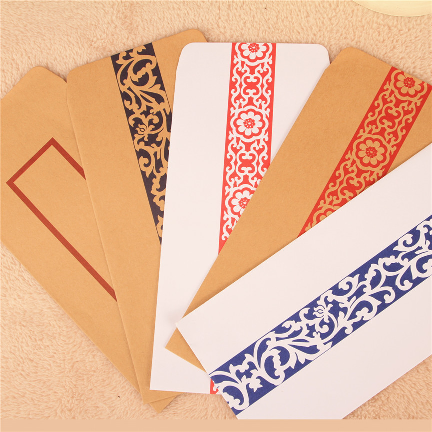 Coloffice 10PCs Retro Traditional Chinese Style Red-green Pattern Vintage White Kraft Envelope School Office Supplies 11*22cm