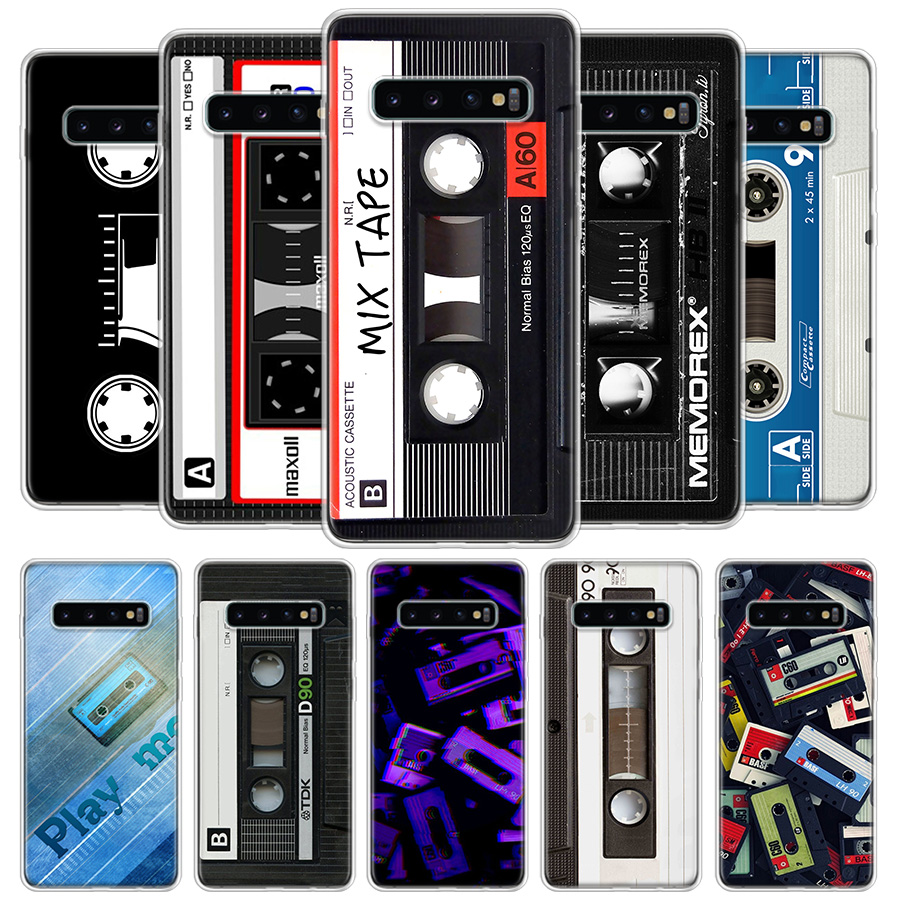 Vintage Magnetic Tape Cassette Cover Phone Case For Samsung Galaxy S20 Ultra S10 Lite Note 10 9 8 S9 S8 J4 J6 J8 Plus + S7 Edge image