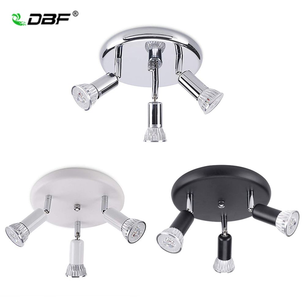 [DBF]3 Lights Silver/Black LED Ceiling Light With Swiveling Light Spots GU10 Ceiling Spot Ceiling Lights For Kitchen Living Room