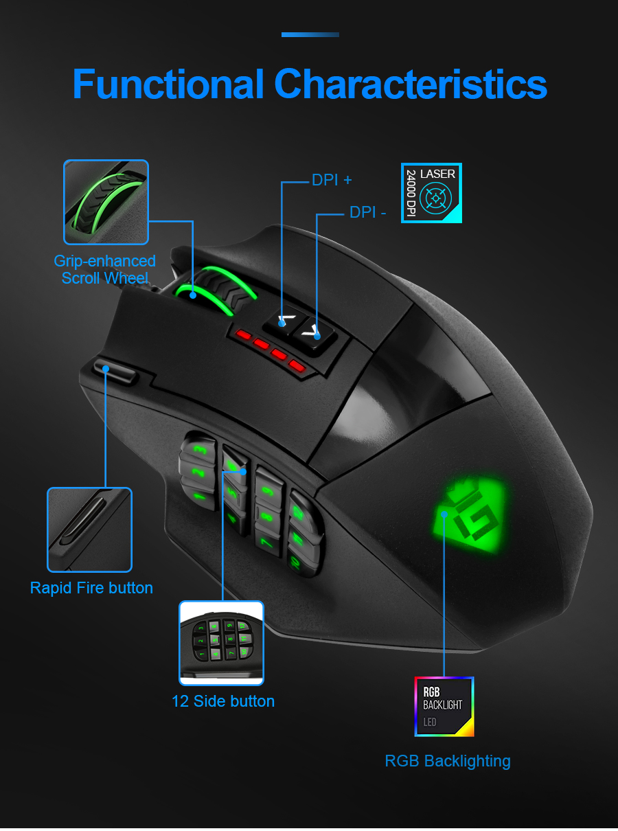 12 Side Buttons Breathing Light GamKoo Varanus 16400 DPI MMO High Precision Programmable Laser Gaming Mouse with 18 Programmable Buttons Weight Tuning Cartridge 5 memory profiles Power Button