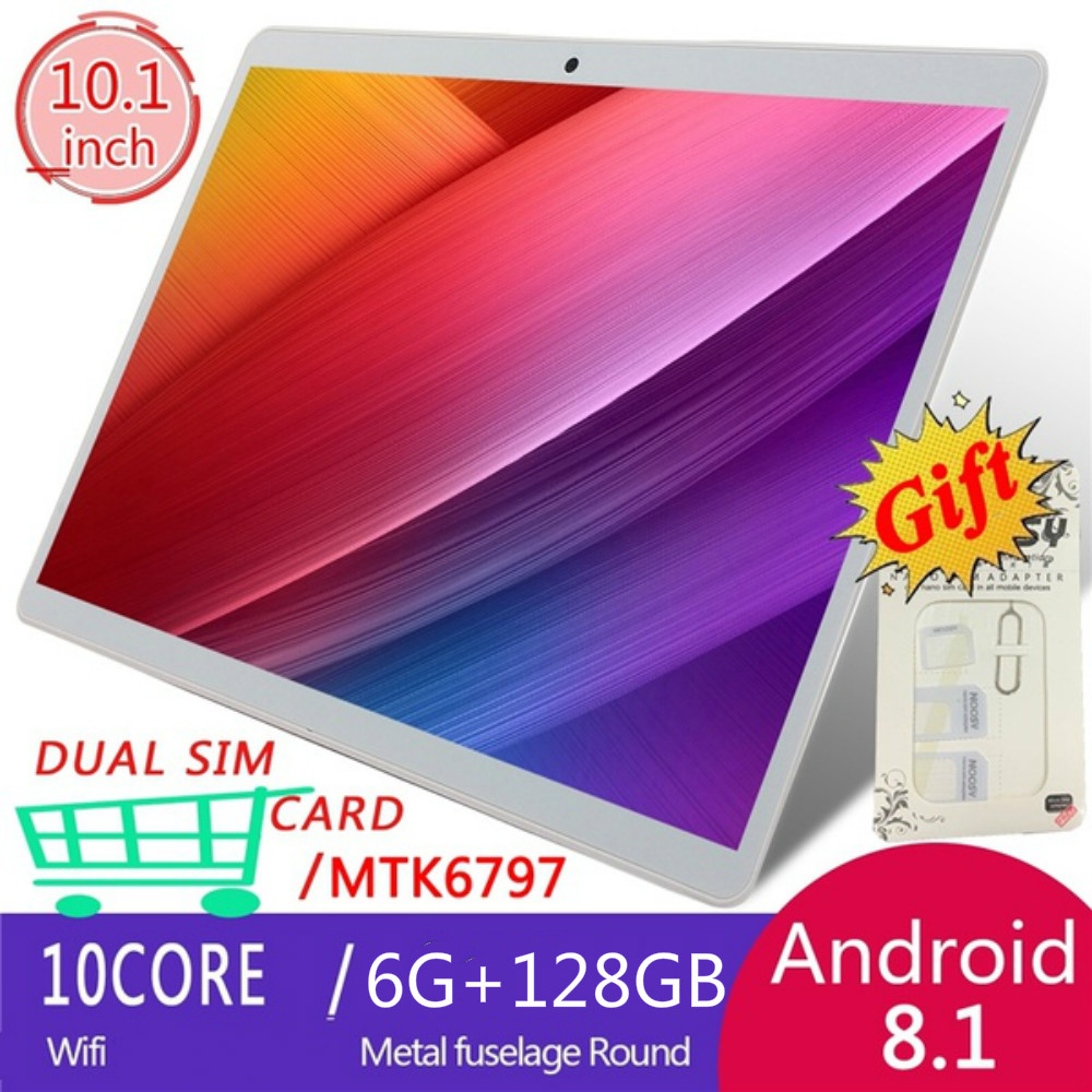 2020 New Black Silver Tablets With 10.1 Inch Andoid 8.0 Tablets 6+128GB  Dual SIM Card Phone 4G Call Wifi Tablets  Kids Tablet