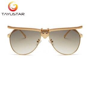 Image 5 - Tiiyu 女性男性サングラス 2020 ファッションの高級高品質猫ヘッドフレームサングラスインストリートトレンディラインストーンメガネ
