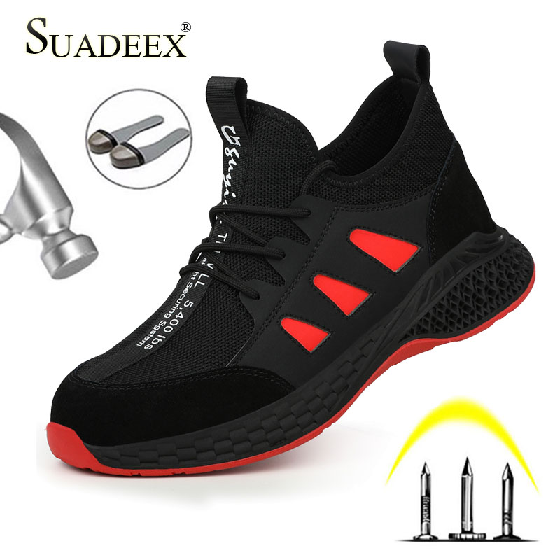 SUADEEX Men Work Safety Shoes Steel Toe Cap Anti-smashing Anti-puncture Construction Work Boots Non-slip Breathable Work Shoes