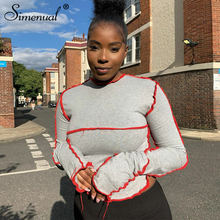 Simenual Fashion Patchwork Casual Women Crop Tops Street Style Long Sleeve Autumn 2020 T Shirt Skinny Bodycon Solid Female Top